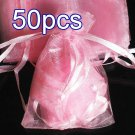 50pcs Baby Pink 3.5x4.6inch(9x12cm) Organza Bags Pouch for Gift Jewelry Solid Color