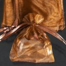 50pcs Brown Coffee 3.5x4.6inch(9x12cm) Organza Bags Pouch for Gift Jewelry Solid Color