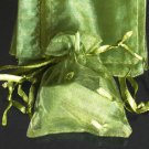 50pcs Olive Green 3.5x4.6inch(9x12cm) Organza Bags Pouch for Gift Jewelry Solid Color