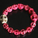 Wholesale 12pcs Cool Hot Pink White Turquoise Skulls Chain Bracelet for Men Women ZZ217