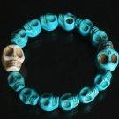 Wholesale 12pcs Cool Blue White Turquoise Skulls Chain Bracelet for Men Women ZZ215