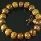Wholesale 12pcs Carved Natural Wood Beads Buddhist Prayer Mala Bracelet DI711