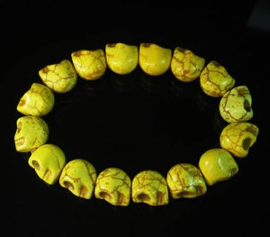 Wholesale 12pcs Yellow Turquoise Skulls Chain Bracelet for Men Women ZZ2151