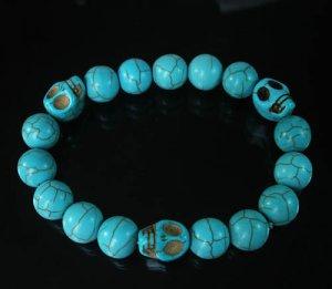 Wholesale 12pcs Turquoise Baby Blue Skull Bead Baby Blue Veins Ball Beads Stretch Bracelet ZZ249