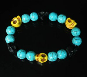 Wholesale 12pcs Turquoise Black Yellow Skull Beads Baby Blue Veins Ball Beads Stretch Bracelet ZZ259