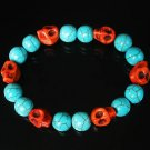 Wholesale 12pcs Turquoise Colorful Red Skull Beads Baby Blue Veins Ball Beads Stretch Bracelet ZZ273