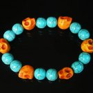 Wholesale 12pcs Turquoise Orange Skull Beads Baby Blue Veins Beads Stretch Bracelet ZZ279