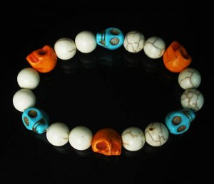 Wholesale 12pcs Turquoise Baby Blue Orange Skull White Veins Beads Stretch Bracelet ZZ291