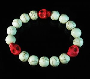 Wholesale 12pcs Turquoise Colorful Red Skull White Veins Beads Stretch Bracelet ZZ2109