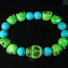 Wholesale 12pcs Turquoise Colorful Green Skull Blue Veins Beads Stretch Bracelet ZZ2161