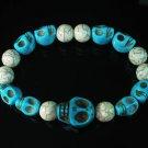 Wholesale 12pcs Turquoise Colorful Baby Blue Skull White Veins Beads Stretch Bracelet ZZ2169