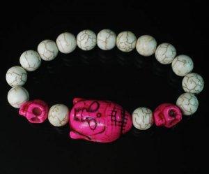 Wholesale 12pcs Turquoise Hot Pink Buddha Skull White Veins Beads Stretch Bracelet ZZ2237