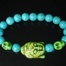 Wholesale 12pcs Turquoise Green Buddha Skull Blue Veins Beads Stretch Bracelet ZZ2244