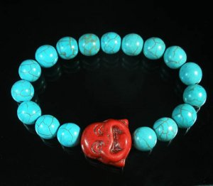 Wholesale 12pcs Turquoise Red Smile Buddha Blue Veins Beads Stretch Bracelet ZZ2295