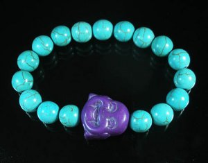 Wholesale 12pcs Turquoise Purple Smile Buddha Blue Veins Beads Stretch Bracelet ZZ2296
