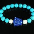 Wholesale 12pcs Turquoise Purple-blue Smile Buddha Blue White Veins Beads Stretch Bracelet ZZ2307