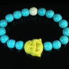 Wholesale 12pcs Turquoise Yellow Smile Buddha Blue White Veins Beads Stretch Bracelet ZZ2323