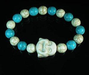 Wholesale 12pcs Turquoise White Smile Buddha Blue White Veins Beads Stretch Bracelet ZZ2331