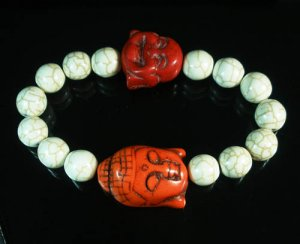 Wholesale 12pcs Turquoise Red Buddha White Veins Beads Stretch Bracelet ZZ2350