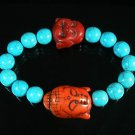 Wholesale 12pcs Turquoise Red Buddha Blue Veins Beads Stretch Bracelet ZZ2353
