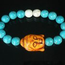 Wholesale 12pcs Turquoise Orange Buddha White Blue Veins Beads Stretch Bracelet ZZ2361