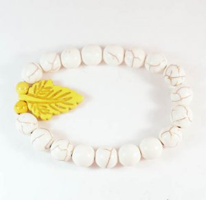 Wholesale 12pcs Turquoise Yellow Leaf White Veins Beads Stretch Bracelet ZZ2403