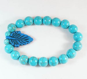 Wholesale 12pcs Turquoise Baby Blue Leaf Baby Blue Veins Beads Stretch Bracelet ZZ2411