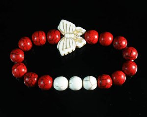 Wholesale 12pcs Turquoise White Butterfly Red White Veins Beads Stretch Bracelet ZZ2440