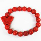 Wholesale 12pcs Turquoise Red Butterfly Red Veins Beads Stretch Bracelet ZZ2462