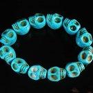 Wholesale 12pcs Turquoise Baby Blue Skull Beads Stretch Bracelet ZZ2394