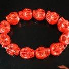 Wholesale 12pcs Turquoise Red Skull Beads Stretch Bracelet for Men ZZ2398