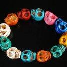 Wholesale 12pcs Turquoise Colorful Skull Beads Stretch Bracelet for Men ZZ2401