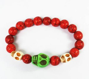 Wholesale 12pcs Turquoise Green White Skull Bead Red Veins Ball Beads Stretch Bracelet ZZ2484