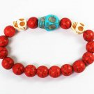 Wholesale 12pcs Turquoise Baby Blue White Skull Bead Red Veins Ball Beads Stretch Bracelet ZZ2505