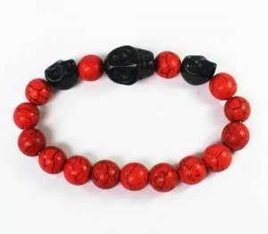Wholesale 12pcs Turquoise Black Skull Bead Red Veins Ball Beads Stretch Bracelet ZZ2515