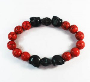 Wholesale 12pcs Turquoise Black Skull Bead Red Veins Ball Beads Stretch Bracelet ZZ2555