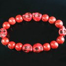 Wholesale 12pcs Turquoise Red Skull Bead Red Veins Ball Beads Stretch Bracelet ZZ2565