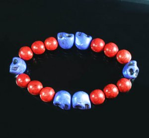 Wholesale 12pcs Turquoise Purple Skull Bead Red Veins Ball Beads Stretch Bracelet ZZ2572