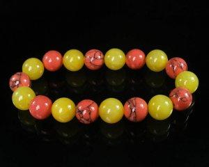 Women 7inch Polished Tibet & Nepal Stone Pink Vein Yellow Bead Bracelet WZ2050-10M