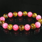 Women 7inch Polished Tibet & Nepal Stone Pink Brown Beads Bracelet WZ2085-10M