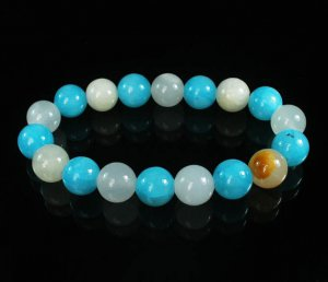 Women 7inch Polished Tibet & Nepal Stone Light White Baby Blue Beads Bracelet WZ2099-10M