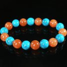 Women 7inch Polished Tibet & Nepal Stone White Red-Orange Beads Bracelet WZ2112-10M