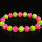Women 7inch Polished Tibet & Nepal Stone Hot Pink Olive Green Beads Bracelet WZ2122-10M