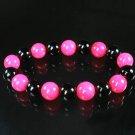 Women 7inch Polished Tibet & Nepal Stone Hot Pink Black Beads Bracelet WZ2123-10M