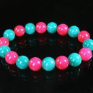 Women 7inch Polished Tibet & Nepal Stone Hot Pink Green Beads Bracelet WZ2125-10M