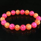 Women 7inch Polished Tibet & Nepal Stone Hot Pink Red-Orange Beads Bracelet WZ2126-10M