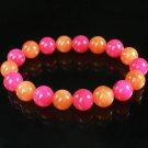 Women 7inch Polished Tibet & Nepal Stone Hot Pink Red-Orange Beads Bracelet WZ2126-10M