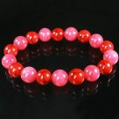 Women 7inch Polished Tibet & Nepal Stone Pink Red Veins Beads Bracelet WZ2130-10M