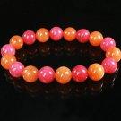 Women 7inch Polished Tibet & Nepal Stone Pink Red-Orange Beads Bracelet WZ2132-10M