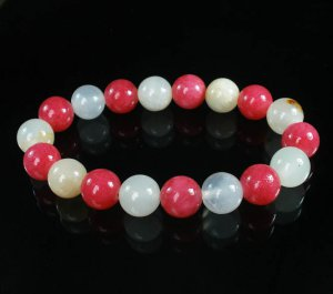 Women 7inch Polished Tibet & Nepal Stone Pink Light White Beads Bracelet WZ2134-10M